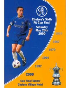 2000 FA Cup Final Chelsea Winners Banquet Menu 20/05/2000