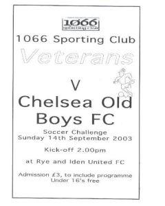 1066 Sporting Club Veterans v Chelsea Old Boys official programme 14/09/2003
