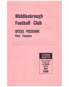 1963 Middlesbrough v Chelsea football programme