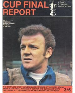 1970 Chelsea v Leeds United FA Cup Final match a Daily Express publication of 1970 featuring Billy Bremner on the front page