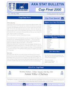 2000 FA Cup Final AXA Stat Bulletin Aston Villa v Chelsea 20/05/2000