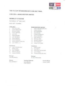 2007 F.A. Cup Final Chelsea v Manchester United official colour teamsheet 19/05/2007