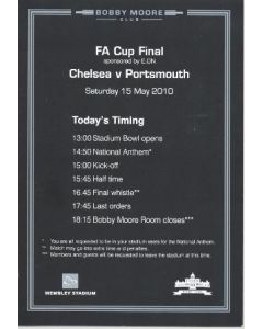 2010 F.A. Cup Final Chelsea v Portsmouth 15/05/2010 Bobby Moore Club menu