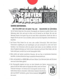 2012 Champions League Final Chelsea v Bayern Munich 19/05/2012 flyer of the Bayern Munich supporters in German