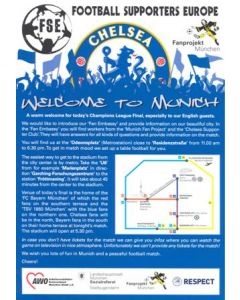 2012 Champions League Final Chelsea v Bayern Munich 19/05/2012 Welcome to Munich,Chelsea! leaflet in English and German