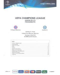 2012 Champions League Final Chelsea v Bayern Munich Official Press Kit without a folder in German 19/05/2012