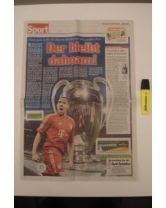 2012 Champions League Final Chelsea v Bayern Munich 19/05/2012 Wochenende German newspaper's sports pages covering the final