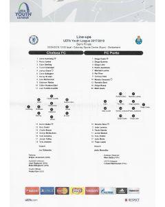 2018 UEFA Youth League Semi Final Teamsheet Chelsea v Porto