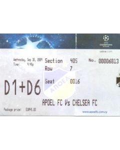 Apoel v Chelsea ticket 30/09/2009