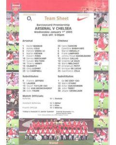 Arsenal v Chelsea official colour teamsheet 01/01/2003 Premier League