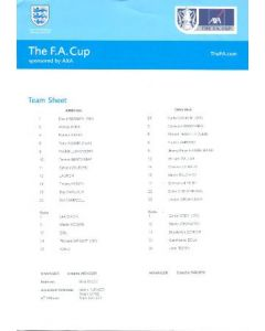 Arsenal v Chelsea official colour printed teamsheet 04/05/2002 FA Cup Final match, played in Cardiff