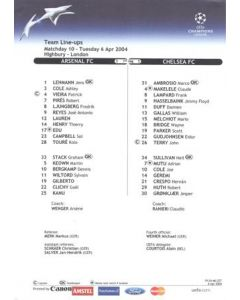 Arsenal v Chelsea official colour teamsheet 06/04/2004 Champions League