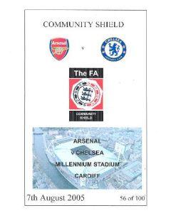 2005 Community Shield Arsenal v Chelsea unofficial programme 07/08/2005