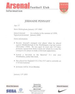 Arsenal v Chelsea information for the media about Jermaine Pennant 13/01/2001 Premier League