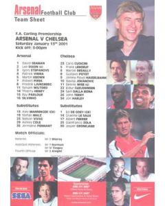 Arsenal v Chelsea official colour teamsheet 13/01/2001 Premier League