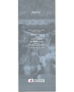 2007 Arsenal v Chelsea Carling Cup Final 2007 Menu 25/02/2007