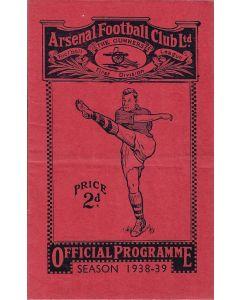 1939 Arsenal v Chelsea Football Programme