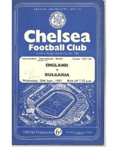 1957 England v Bulgaria At Chelsea official programme 25/09/1957