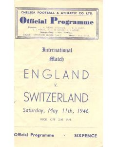 1946 England v Switzerland official programme 11/05/1946 At Chelsea