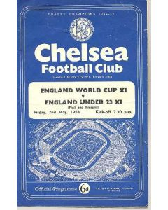 1958 England World Cup XI v England Under 23 XI At Chelsea official programme 02/05/1958
