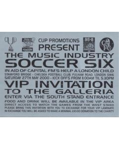 At Chelsea - The Music Industry Soccer Six VIP Invutation to the Galleria 27/05/2000