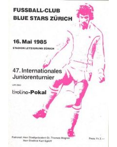 1985 47th International Junior Toutnament in Zurich, Switzerland wit Chelsea junior team playing as well v. Red Star and Wettingen. Programme of 16/05/1985