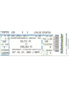 Celtic v Chelsea ticket 24/07/2004 for a match played in Seattle, Washington, USA