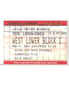Charlton Athletic Reserves v Chelsea Reserves ticket 10/11/2003