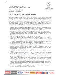 Chelsea v Feyenoord press pack 24/11/1999