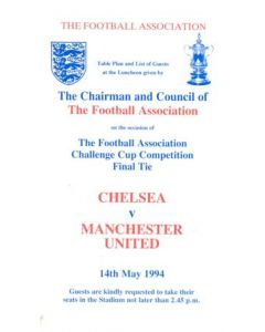 1994 Chelsea v Manchester United 14/05/1994 FA Cup Final Royal Box Table Plan & List of Guests