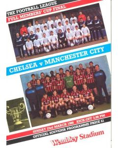 1986 Full Members Cup Final official programme Chelsea v Manchester City 23/03/1986