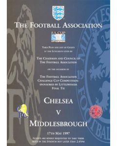 1997 Chelsea v Middlesbrough 17/05/1997 programme of arrangements table plan and list of guests at the luncheon, given by the chairman and council of the Football Association on the occasion of the FA Cup Final
