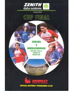 1990 Zenith Data Systems Cup Final Chelsea v Middlesbrough official programme
