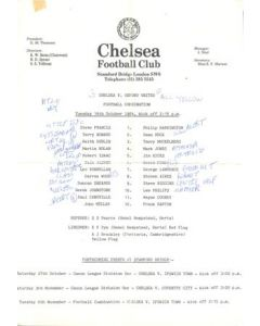 Chelsea v Oxford United Reserves official teamsheet 16/10/1984 Football Combination, with a newspaper cutting