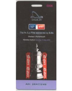 2010 F.A. Cup Final Chelsea v Portsmouth 15/05/2010 laminated VIP pass with itinerary ARC Brasserie Package