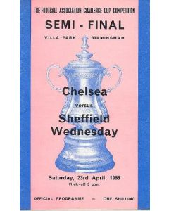1966Chelsea v Sheffield Wednesday official programme F.A. Cup Semi-Final 23/04/1966