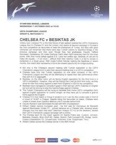 Chelsea v Besiktas press pack 01/10/2003 Champions League
