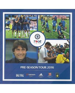 Chelsea Pre-Season Tour Guide 2016, 52 pages and issued to media and VIP's attending Chelsea's American tour in 2016. The Tour guide covers the games against Liverpool in Pasadena on the 27th  July, Real Madrid in Michigan on the 30th July and AC Milan in