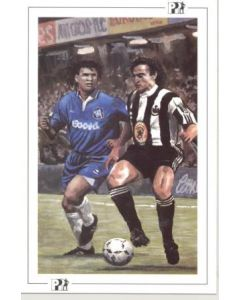 Newcastle United's French International David Ginola about to feel the challenge of Chelsea's Dutch International Maestro Ruud Gullit postcard