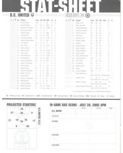 D.C. United v Chelsea stat sheet 28/07/2005