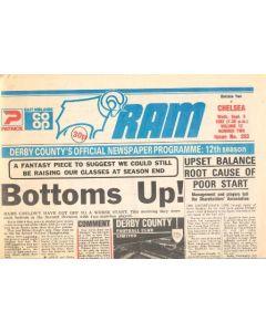 Derby County vChelsea official programme 08/09/1982 Ram newspaper