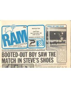 Derby County vChelsea official programme 28/11/1981 Ram newspaper