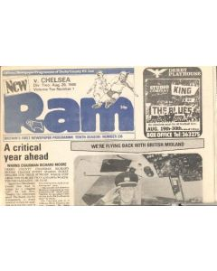 Derby County vChelsea Ram official newspaper programme 20/08/1980