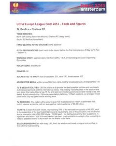 2013 Europa League Final - Chelsea v Benfica Facts and Figures Press Handout in Portugese 15/05/2013
