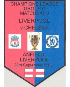 Liverpool v Chelsea plastic pennant souvenir 28/09/2005