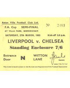 1965 FA Cup Semi-Final Liverpool v Chelsea ticket 27/03/1965