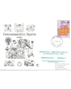 Norwich City v Chelsea League Cup Semi-Final Replay at Norwich 03/01/1973 first day cover