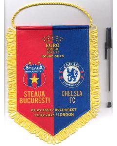 Steaua Bucharest v Chelsea 07/03/2013 and Chelsea v Steaua 14/03/2013 UEFA Europa League pennant, red and blue background