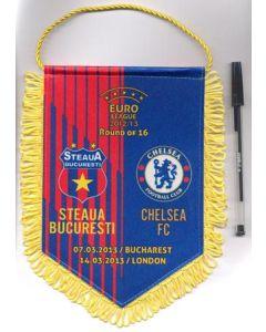 Steaua Bucharest v Chelsea 07/03/2013 and Chelsea v Steaua 14/03/2013 UEFA Europa League pennant, red stripped and blue background