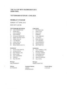 2012 FA Cup Semi-Final Tottenham Hotspur v Chelsea official teamsheet 15/04/2012